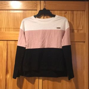 Tops - Slightly cropped striped long sleeve shirt